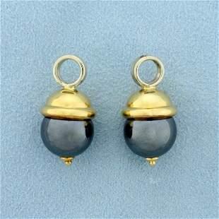 Hematite Hoop Earring Enhancers or Charms in 18K Yellow