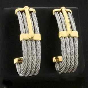 Designer Charriol Cable Link J Hoop Earrings in 18K