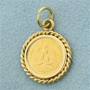 Mexican Two Pesos Gold Coin Pendant in 14K Yellow Gold