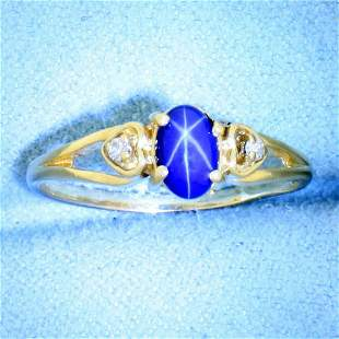 Star Sapphire and Diamond Ring in 10K Yellow Gold