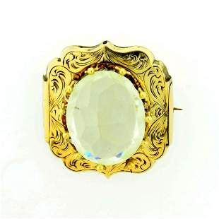 Antique 10ct White Topaz Pin in 14K Yellow Gold