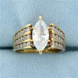 Marquise CZ Engagement Ring in 10K Yellow Gold