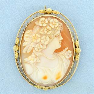 Large Cameo Pendant or Pin in 14K Yellow Gold