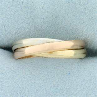 Tri Color Three Band Interconnected Ring in 18K Yellow,