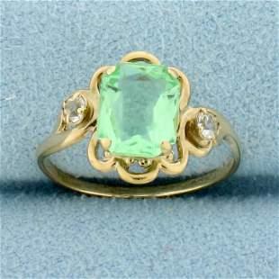 Green Quartz Vintage Ring in 10K Yellow Gold