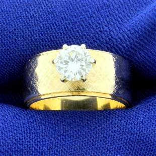 Wide Band 3/4ct Diamond Solitaire Engagement Ring in
