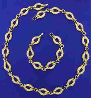 Italian Made Adjustable Heavy Necklace and Bracelet Set