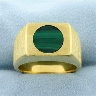 Heavy Men's Malachite Ring in 18K Yellow Gold