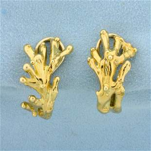 Gold Nature Tree Design Earrings for Non-Pierced Ears