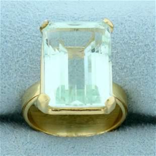 11ct Aquamarine Statement Ring in 14K Yellow Gold