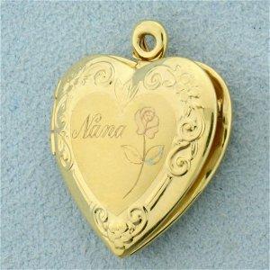 Nana Heart Locket Pendant in 10K Yellow Gold