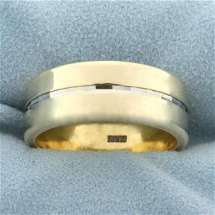 Unique Two Tone Wedding Band Ring in 14k Yellow and