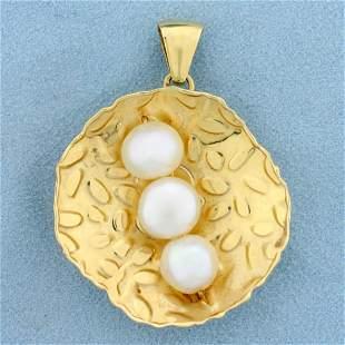 Italian Made Akoya Pearl Pendant in 14K Yellow Gold