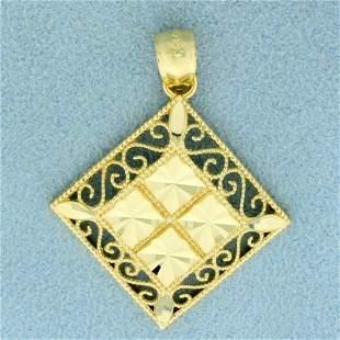 Diamond Cut Filigree Design Pendant in 14K Yellow Gold