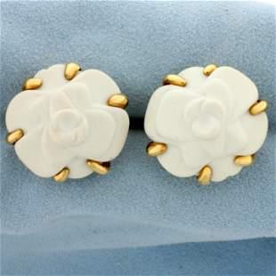 Authentic Chanel Camellia White Agate 18K Gold