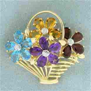 Rainbow Gemstone and Diamond Flower Basket Pin in 14K