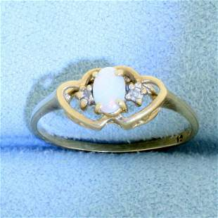 Vintage Opal and Diamond Heart Ring in 10K Yellow Gold