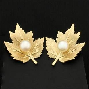 Screw Back Maple Leaf Pearl Earrings in 14K Yellow Gold