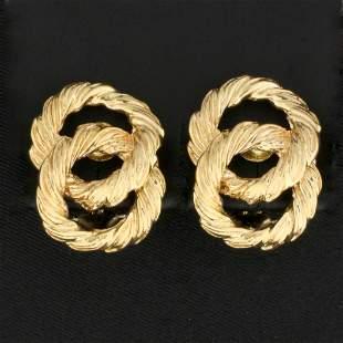 Unique Double Hoop Rope Design Earrings in 14K Yellow