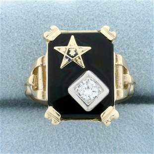 Vintage Order of the Eastern Star Onyx and Diamond Ring