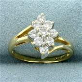 1/2ct TW Diamond Flower Design Ring in 14K Yellow Gold