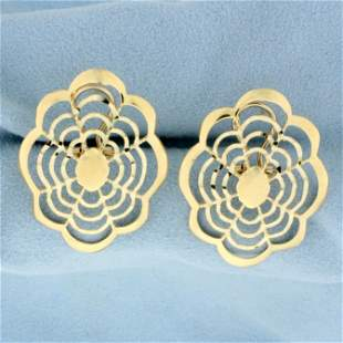 Unique Cut Out Flower Design Earrings in 14K Yellow