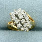 1/2ct TW Diamond Bypass Design Ring in 14K Yellow Gold