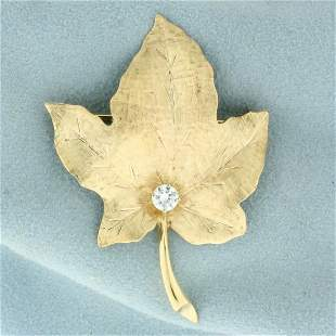 Maple Leaf 1/3ct Diamond Brooch or Pin in 14K Yellow