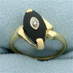 Vintage Onyx and Diamond Ring in 10K Yellow Gold