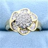 Over 2ct TW Diamond Flower Design Ring in 14k Yellow