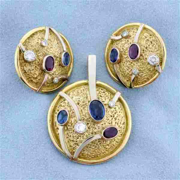 Designer Diamond, Sapphire, and Ruby Statement Pendant