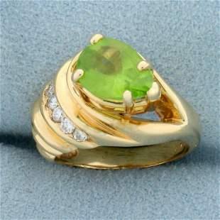 Designer 2ct TW Peridot and Diamond Ring in 14K Yellow