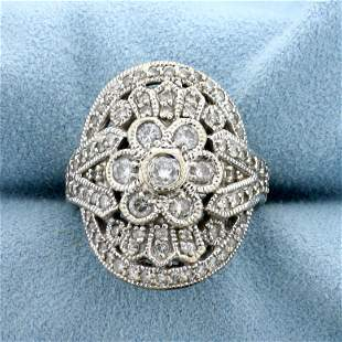 Vintage 1.5ct TW Diamond Flower Design Ring in 14K