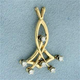 Unique Abstract Diamond Pendant in 14K Yellow Gold