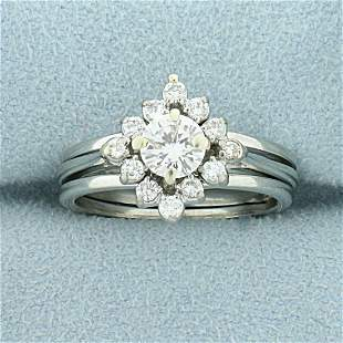 3/4ct TW Diamond Halo Engagement Ring in 18K White Gold