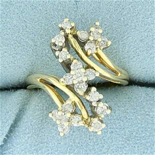 "2/3ct TW Diamond ""S"" Flower Design Ring in 14K Yellow"