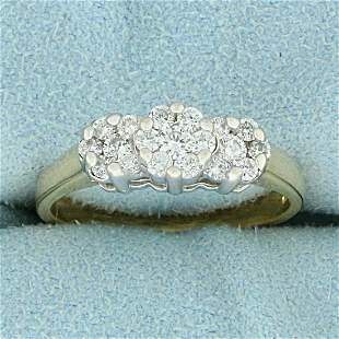 1/2ct TW Diamond Flower Design Ring in 14K Yellow and