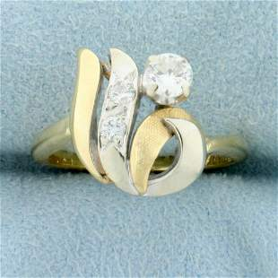 1/3ct TW Diamond Abstract Design Ring in 14K Yellow and