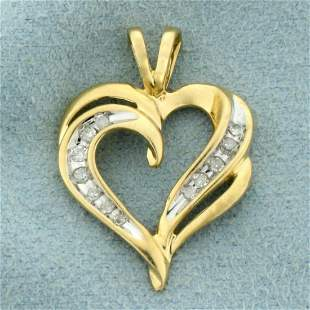 Diamond Heart Pendant in 10K Yellow and White Gold