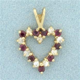 Diamond and Ruby Heart Pendant in 10K Yellow Gold