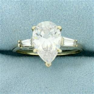 3.5ct TW CZ Three-Stone Engagement Ring in 14K White