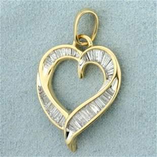 2ct TW Baguette Diamond Heart Pendant in 10K Yellow