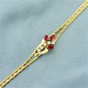 Italian Made 3/4ct TW Ruby and Diamond Flower Design