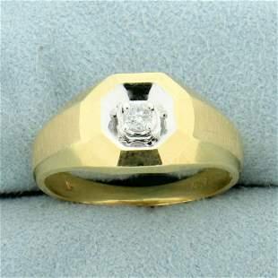 Art Deco Design Diamond Solitaire Ring in 14K Yellow