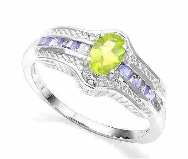 Peridot, Tanzanite, & Diamond Ring in Sterling Silver