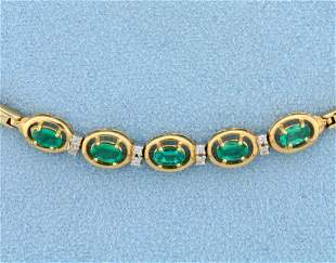 Natural Emerald and Diamond Bracelet in 14K Yellow Gold