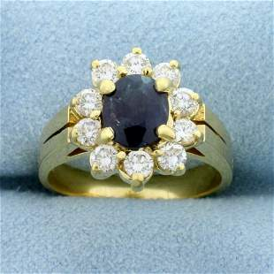 2ct TW Natural Alexandrite and Diamond Flower Ring in