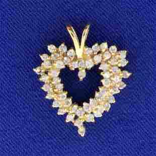 1ct TW Diamond Heart Pendant in 14k Yellow Gol
