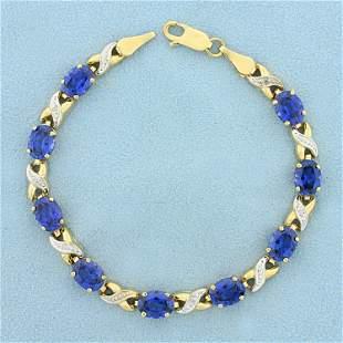 13ct TW Lab Sapphire and Diamond Line Bracelet in 10K