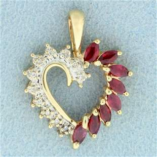 Ruby and Diamond Heart Pendant in 10K Yellow Gold